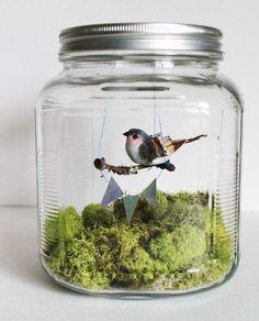 más y más manualidades: Bellos adornos de pájaros en frascos
