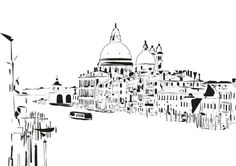 ARTFINDER: Salute Church by Arianna Sautariello - Print of a drawing I made with Adobe Illustrator. This is the Salute Church in Venice as you see it from the Accademia Bridge.