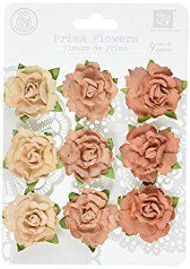 Amazon.com: Prima 543716 Sugar Plum Roses Flower Embellishments, Chestnut
