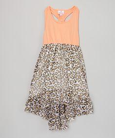 Love this Orange Knit & Chiffon Hi-Low Dress - Toddler & Girls by Dollhouse on #zulily! #zulilyfinds