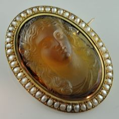 Citrine brooch with pearls