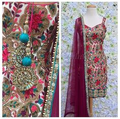 This suit by Luxie Couture is gorgeous! Love the unsymmetrical embroidery, mix of colors and teal accents. The wine colored dupatta is perfection!