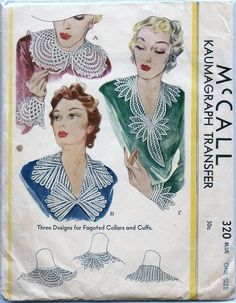 1935 McCall 320 Pattern - Ladies' Lace Collar and Cuffs In Three Designs Mccalls Sewing Patterns, Vintage Sewing Patterns, Lace Collar, Collar And Cuff, Vintage Outfits, Vintage Fashion, 1930s Fashion, Retro Fashion, Vintage Clothing