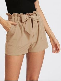 Casual Plain Regular Elastic Waist Mid Waist Khaki Self Tie Ruffle Waist Shorts with Belt