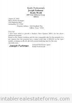 Sample Printable Broker Price Opinion Form Printable
