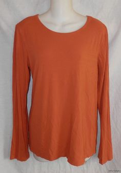 Women Eileen Fisher Top L Large Casual Pumkin Orange Long Sleeved Tee Scoop Neck | eBay