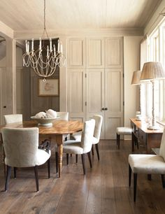 Formal dining room with dark wide plank wood floors. Dining Room Design, Dining Area, Dining Rooms, Interior Decorating, Interior Design, Room Inspiration, Living Spaces, Sweet Home, House Design