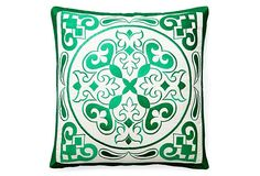 One Kings Lane - Go Bold - Kashi 20x20 Embroidered Pillow, Green