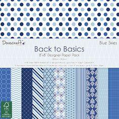 48 SHEET BACK TO BASICS BLUE SKIES FULL PACK 8 x 8 CARD MAKING BACKING PAPER