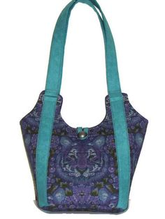 Quilted Fabric Tote Bag, Quilted Shoulder Bag, Purple and Jade Quilted Purse, Quiltsy Handmade by VillageQuilts on Etsy