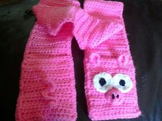 Pink Piggy Scarf w/round features by LittleDebiSnack on Etsy, $20.00