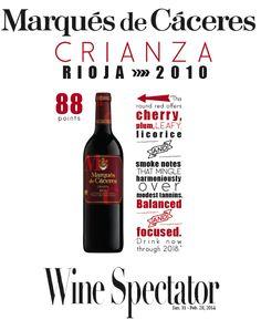 Marques de #Caceres Crianza Rioja 2010 - 88  points - #Wine Spectator