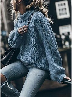 VERYVOGA Solid Chunky knit Stand Collar Sweaters