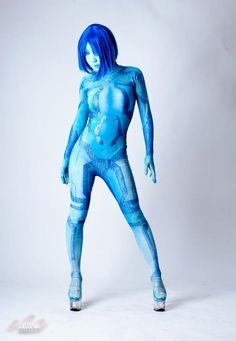 Cortana cosplay from the Halo video game series. Cortana Cosplay, Halo Cosplay, Best Cosplay, Awesome Cosplay, Anime Cosplay, Cool Costumes, Cosplay Costumes, Amazing Costumes, Halo 4 Cortana