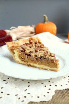 Pumpkin Cheesecake Pie with Streusel - Chocolate with Grace