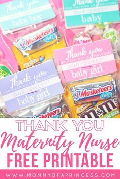 DIY Maternity Nurse Gifts with free printable for boy, girl and gender neutral