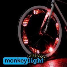 Unique and fun gift idea! The MonkeyLectric Monkey Light bike wheel light attaches to spokes and displays simple, colorful graphics on the spinning bike wheel to light up the night with a highly visible display. Fixed Gear Bikes, Bicycle Spokes, Bicycle Wheel, Bicycle Lights, Bike Light, Spin Bikes, Bmx Bikes, Motorcycles, Road Bike Women