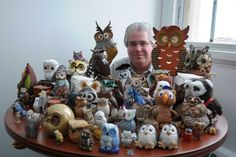 Brian Forman has collected more than 70 owl figurines. His owl collection gained attention when it was featured in the TUPortal banner image. | ABI REIMOLD / TTN