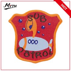red twill tape woven patch with overlock