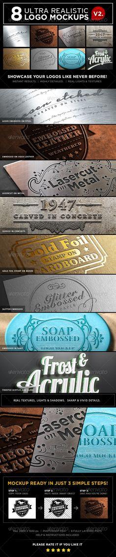 8 Photorealistic 3D Logo Mockups Vol.2 - Logo Product Mock-Ups
