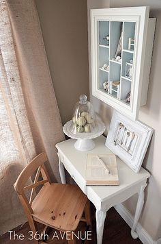 Small accent corner: burlap, wood, blue and soft white.