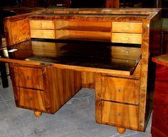 Desk, Biedermeier style, walnut, 1820 - 30, lined maple, secret drawers, 105 cm x 133 cm x 77 cm (h x w x d), www.stodola.cz Desks, Antique Furniture, Corner Desk, Drawers, Antiques, Home Decor, Tables, Corner Table, Antiquities