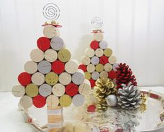 Wine Cork Mini Christmas Tree in Silver Gold by GoldenVineDesigns