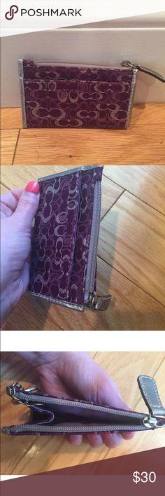 NWOT Coach signature card wallet Purple & multicolor Coach card wallet. Coach Bags Wallets