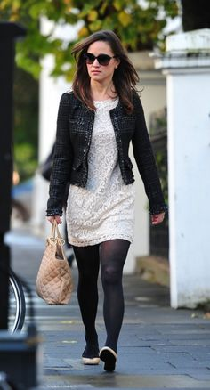 Pippa Middleton in Beige Leather with Black Trim