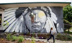 White Wolf: Chief Joseph Mural being painted by well-known Native Artist, Toma Villa