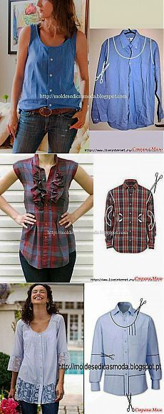 How to recycle old clothes to make them into something completely new .- Wie man alte Kleider recycelt, um sie in etwas völlig Neues zu verwandeln. How to recycle old clothes to turn them into something completely new. Cut Up Shirts, Old Shirts, Shirt Refashion, T Shirt Diy, Diy Clothing, Sewing Clothes, Sewing Men, Men Clothes, Fashion Clothes