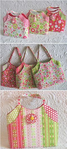 Bag patterns for two spacious bags with deep front pockets. Bonus: templates for a very large bag; mini size included too. Patchwork Patterns, Bag Patterns To Sew, Patchwork Bags, Quilted Bag, Sewing Patterns, Quilted Handbags, Wallet Pattern, Tote Pattern, Coin Purse Tutorial