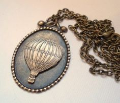 Hot Air Balloon Necklace Vintage Brass Balloon, Jewelry Up Up and Away - Vintage Inspired Necklace. $22.00, via Etsy.