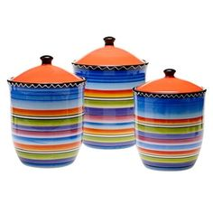 Hand-painted Tequila Sunrise 3-piece Canister Set