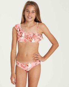 Girls' Swimwear and Bathing Suits Bikini Girls, Bikini Set, Bikini Tops, Strap Bikini, Long Sleeve Swim Top, Billabong Girls, Girls Swimming, Swim Sets, Swimwear Brands