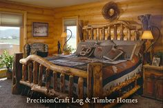 A chunky log bed was a must in this log home bedroom complete with matching log dressers. PrecisionCraft Log Homes will be with you every step of the way in designing your milled log home. Log Home Bedroom, Log Bedroom Furniture, Bedding Master Bedroom, Bedroom Decor, Bedroom Ideas, Master Bedrooms, Log Cabin Furniture, Rustic Bedrooms, Western Furniture