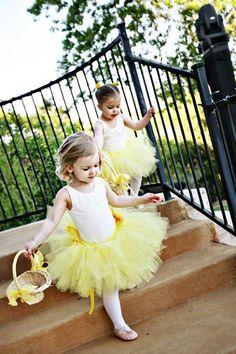 Little flower girls in yellow tutus - sooo cute