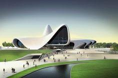 Zaha Hadid - Heydar Aliyev Cultural Center in Baku, Azerbaijan Zaha Hadid Design, Architectes Zaha Hadid, Zaha Hadid Architects, Famous Architects, Zaha Hadid Buildings, A As Architecture, Building Concept, Amazing Buildings, Cultural Center