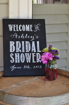 Custom Bridal Shower Sign- Chalkboard Painted Screen Printed 12x16 Canvas Board via Etsy