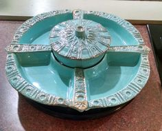 California Originals Lazy Susan Relish Tray with Turntable - Turquoise and Gold #591 USA - 4 Sections with Covered Bowl - Vintage by ClassyVintageGlass on Etsy