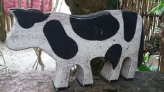 Vintage fab find;) wooden cow