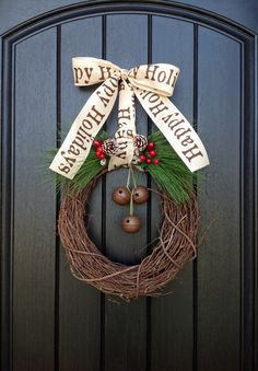 Christmas Wreath-Winter Wreath-Holiday Door Decor-Red Berry-Rustic-Holiday Season-Jingle Bells on Etsy, $55.00