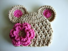 Baby Girl Crochet Hat wih Ears and Flower  by crystalandtaylor