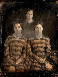 The Misses Spenser, Daguerreotype, ca 1850 - identical twins and their sister?