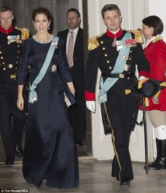 Dashing couple: Australian-born Mary was accompanied by her husband Crown Prince Frederik at Copenhagen's Christiansborg Palace
