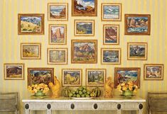 Landscapes in the Santa Barbara guest house's dining room