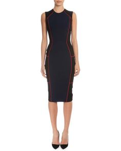 Colorblock+Sheath+Dress+W/Contrast+Seaming,+Navy/Black+by+Victoria+Beckham+at+Neiman+Marcus.