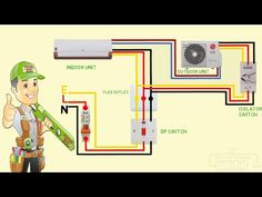 split ac wiring diagram indoor outdoor single phase - YouTube Basic Electrical Wiring, Ac Wiring, Electrical Circuit Diagram, House Wiring, Electrical Engineering, Hvac Air Conditioning, Refrigeration And Air Conditioning, Ac Capacitor, Trailer Light Wiring