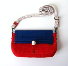 Nautical Red Cross Body / Shoulder Bag or Zipper Pouch by askidas, $45.00