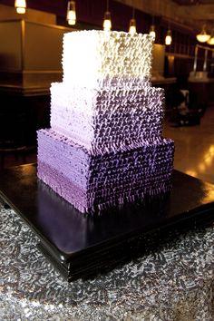 purple ombre ruffled wedding cake.
